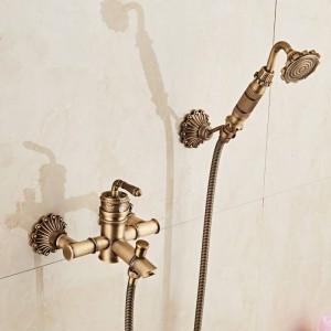 Bamboo Shower Faucet Mixer Tap Antique Bronze Brass Bath Shower Faucet Set Bathtub Faucet Torneira Bath XT333