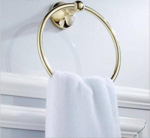 Gold full copper bathroom wall hardware pendant towel ring 9023K
