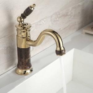 New Deck mounted brass and faucet Bathroom Basin faucet Mixer Tap Gold Sink Faucet Bath Basin Sink Faucet XT617