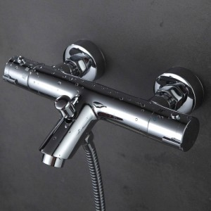 Polished Chrome Solid Brass Bath Thermostatic Shower Faucet With Bend Angle XT329