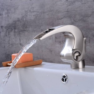 Nickel bathroom Waterfall faucet Crane Nicke Bathroom basin Faucet Bathroom Basin Mixer Tap with Hot and Cold LAD-4