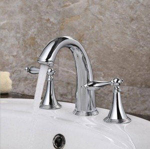 Promotion Deck Mounted Widespread Antique Brass Bathroom Basin Faucet Dual Handles Mixer 8206