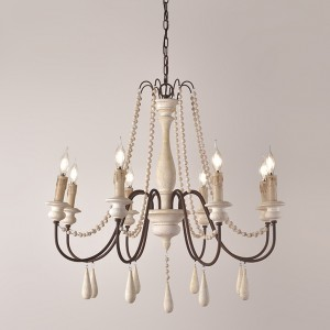 French Country Candle-Style Wood Bead Swag 1-Tier/2-Tier Wooden Chandelier White
