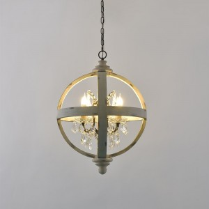 French Country Globe Chandelier 4-Light/6-Light Wood Orb Crystal Chandelier Antique White/Brown