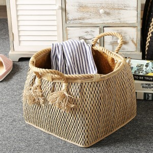 French Country Hand Woven Laundry Basket with Hemp Rope Handles Drum-Shaped Plant Based Storage Basket