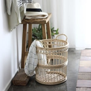 French Country Style Wood Bead Hollow Out Weave Rattan Storage Basket with Double Handles Cylindric Laundry Hamper in Beige