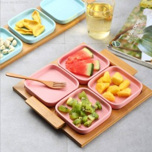 Fruit plate modern living room home Ceramic creative dried fruit plate wedding candy box nut plate snack plate wood tray
