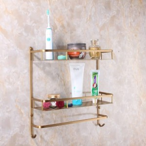 Full copper Wall Mount copper 2 layers Storage Basket shower room Bathroom Towel Rack Soap Dish Shampoo Rack Bathroom Shelves