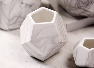 Geometric Home Decor Flower Pots Ceramic Vases Marble Grain Vein Texture Decorative Flower Vases Flowerpot Planters