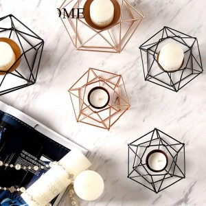 Geometric Wrought Iron Candlestick Modern Home Soft Decoration Model Room Decoration Cafe Restaurant Decoration Candlestick