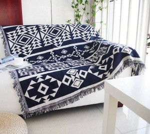 Geometry Throw Blanket Sofa Decorative Blue Bohemia Slipcover Cobertor on Sofa/Beds/Plane Travel Non-slip Stitching Blankets