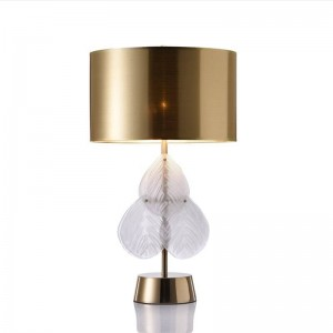 Glass leaves Post modern table lamp bedroom bedside creative lamp designer living room study Europe gold cloth art shade lamp