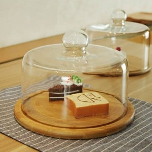 Glass transparent cover fruit plate Afternoon tea cake cover Wooden glass cover West Point tray Cake plate fruit dessert plate