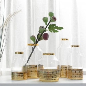 Glass Vase Gold Metal Circle Decor Home Decor Crystal Flower Vases Wedding Party Gift