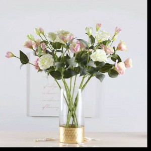 Glass Vase Gold Transparent Straight Vase Home Decoration Gold Foil Flower Arrangement Rose Lily