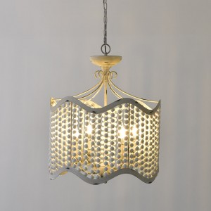 Glew Vintage Retro 4-Light Beaded Chandelier Gold / Distressed White Candle Chandelier Drum-Shaped