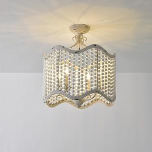 Glew Vintage Retro Beaded Semi Flush Mount Ceiling Light 4-Light Drum-Shaped Light Fixture in Distressed White / Gold