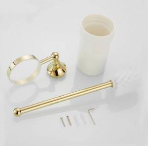 Gold brass bathroom toilet ceaner brush holder Archaize toilet rack holder Bathroom hardware accessories Toilet brush holder