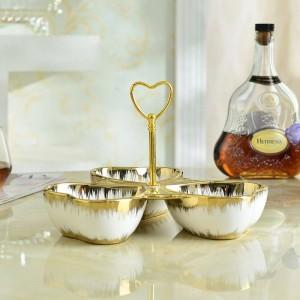 gold Ceramic Fruit Plate European Dessert Dried Fruit Plate Snack Plates Candy Dish Ceramic Fruits Plates
