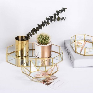 Gold Glass Storage Trays Nordic Makeup Organizer Sundries Serving Tray Dessert Plate Metal Decorative Tray Home Kitchen Decor
