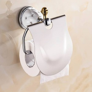 Gold Toilet Paper Holder with diamond Roll Holder Tissue Holder Bathroom Accessories Products Paper Hanger Bathroom Fitting 5208