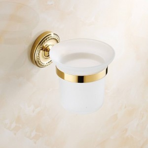 Golden Brass Bathroom Accessories Toilet Brush Holders Sanitary wares wall mounted 7008G