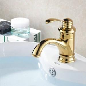 Golden Brass Vanity Sink Single Handle Basin Faucet For Bathtub Waterfall Bath Shower Kitchen 7203K
