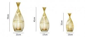 Golden Candlestick Wrought Iron Geometric Candlestick Romantic Ornament Decoration Candlelight Dinner Props Set