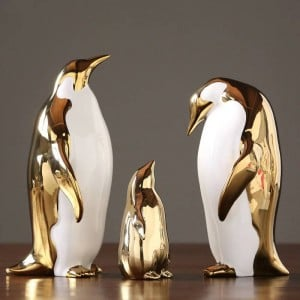 Golden Ceramic Penguin Ornaments Home Model Room Living Room Tv Cabinet Wine Cabinet Office Decoration Gifts