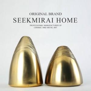 Golden oblique ceramic literary vase Nordic home TV cabinet dining table decoration ornaments Vases Vase Decoration Home