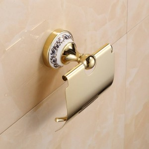Golden Stainless steel Paper Holder Wall Mounted Bathroom Accessories hardwares 7002GSP