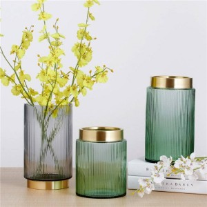 Green Colorful Glass Vases Gold Vase Flower Pots Planters Home Decorative Vase