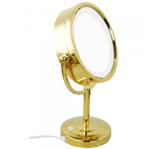 10x/1x Magnification Makeup Mirror with LED Lights Double Side Round Crystal Glass Standing Mirror Gold Finish M2208DJ