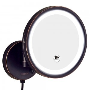 Hotel Bathroom 10X Magnification Vanity Lighted Makeup Mirror Shaving, Wall Mount Round Mirrors with 7X/5X/3x Magnifying