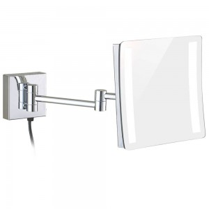 Led Lighted 3X Magnifying High Clear Makeup Mirrors Square Wall Mounted Chrome Round Mirrors with Double Extended Arms