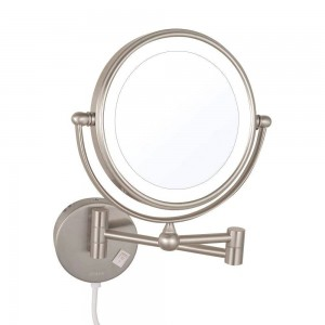 led Lighted Magnification Makeup Mirrors Double sided Swivel Extendable Folding Shaving Mirrors with led lights Nickel