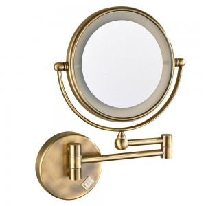 LED Lighted Vanity Wall Makeup Mirror with 7X Magnification, Antique Bronze Polished, Electrical plug, 360 Rotated Mirrors