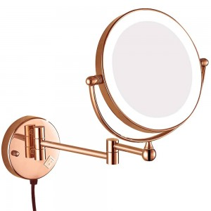 Lighted Magnification Wall Mount Bathroom Makeup Mirror Swivel Extendable Mirrors with Electrical Plug, Magnifying 10x 7x