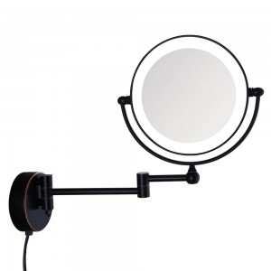 Oil-Rubbed Bronze led Lighted Wall Mount Bath Makeup Mirror with 7X Magnification Electrical Plug, Extended Arms