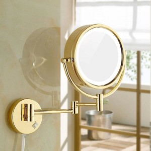 Shaving Makeup Mirrors with LED Lights and 10x/1X Magnification Wall Mounted Bathroom Vanity Lighted Gold Mirrors 8.5""