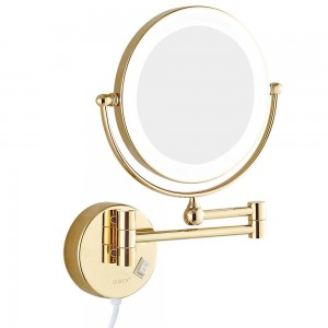 Wall Mount Bathroom Makeup Mirrors with led Lights and 7x Magnifying Shaving Mirror Double Sided Extended Rotated Gold 8""
