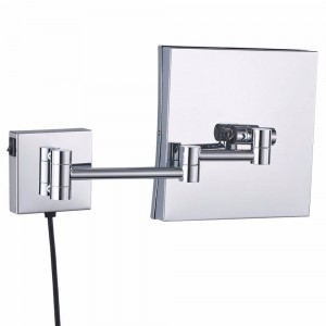 Wall Mounted Magnifying Bathroom Led Lighted illuminated Makeup Mirror Framed Square Extendable Shaving Mirrors Chrome