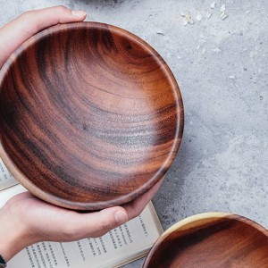 Hand-made Solid Wood Bowl Large Small Round Wooden Bowls Salad Soup Dining Serving Bowls Plate Wooden Kitchen Utensils Tableware