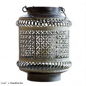 Handcraft Brown White Vintage Retro Pierced Metal Hurricane Candle Lantern