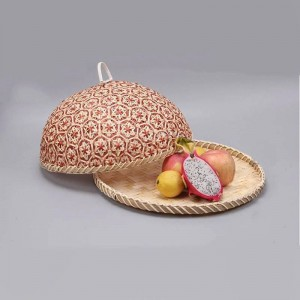Handmade Bamboo Food Fruit Wicker Rattan Straw Basket Bread With Lid Round Plate Kitchen Storage Bread Organizer Natural Health