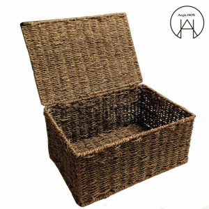 Handmade rattan Storage basket with lid bamboo weaving finishing Storage boxs clothing storage Box not deformed Moisture-proof