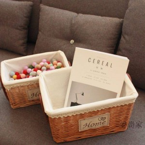 Handmade rattan sundries storage box white bamboo storage tank basket home clothes finishing storage basket moisture-proof