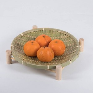 Handmade Woven Bamboo Fruit Basket Wicker Straw Food Bread Organizer Kitchen Storage Decorative Gift Small Dish Round Plate
