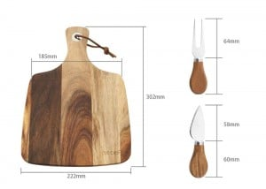 Cheese Board 3PCS Set, Acacia Wood Cheese Plate & Cheese Knife & Cheese Fork