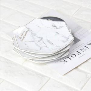 Hexagon White Marble Style Ceramics Storage Plate With Golden Rim Chic Luxury Dessert Fruit Jewelry Storage Organizer Decorative